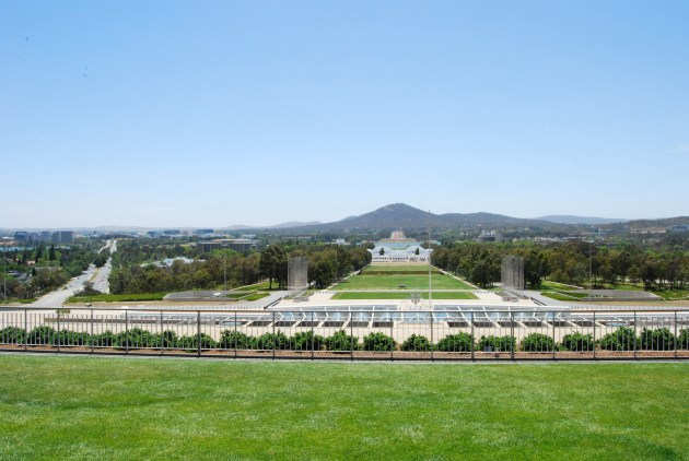 Canberra as seen from the roof of the Parliament House of Australia