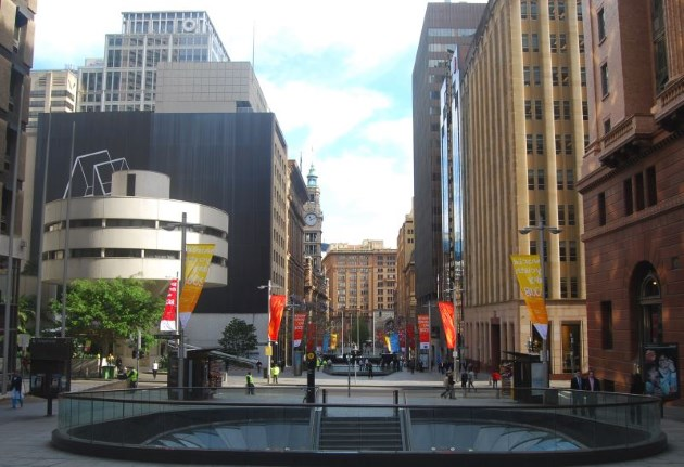 Early morning photo of Martin Place showing the entrance to the Train Station