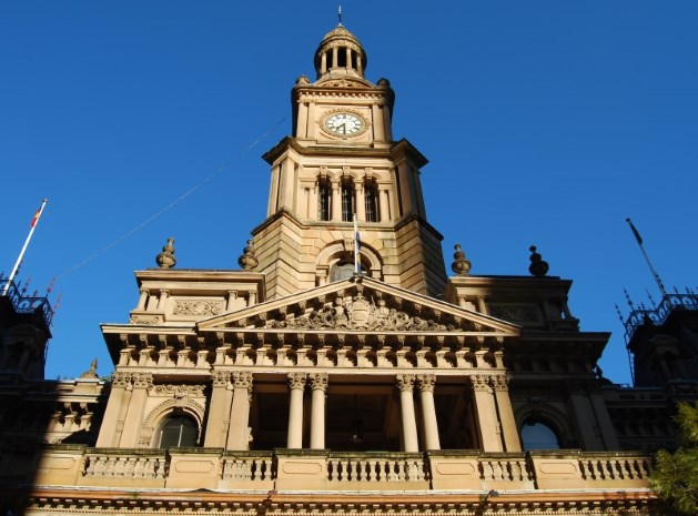 Sydney Town Hall. Note the wrought iron embellishments and the Yellow Sandstone