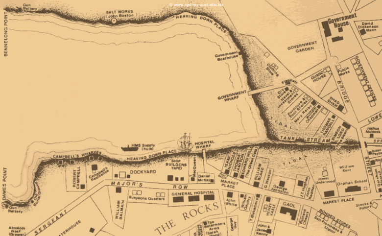 Map showing Sydney Cove in the Early 1800s.
