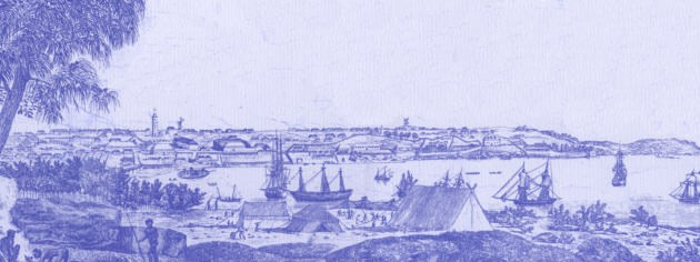 The Rocks and Sydney Cove in 1807.