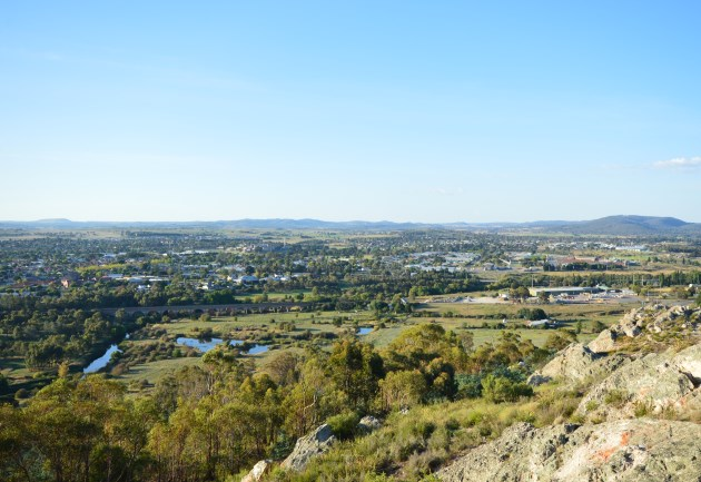 View of Goulburn with the railway in the foreground