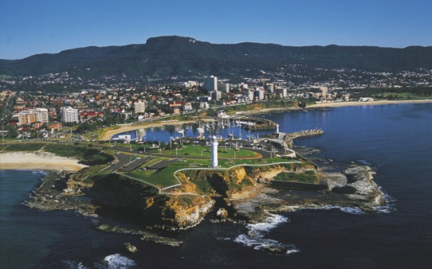 Wollongong Headland showing the Lighthouse and City.