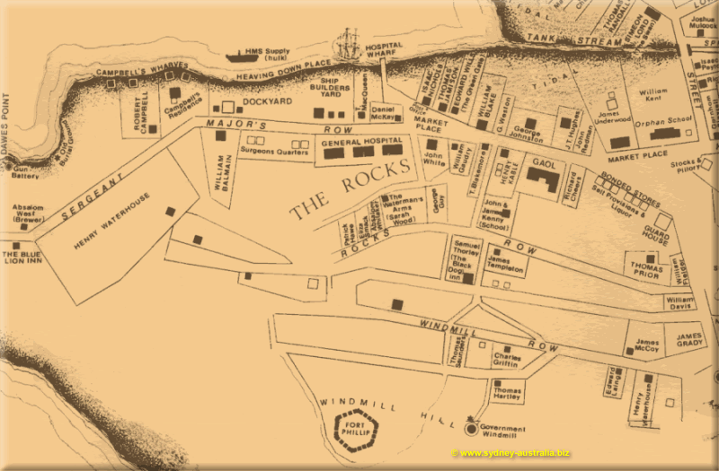 The Rocks Map - Early 1800s