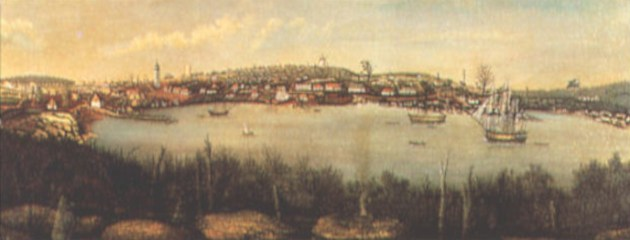 Early Painting of The Rocks, from the opposite side of Sydney Cove.