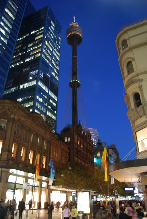 Sydney Centrepoint Tower at the Pitt Street Mall: Night Shopping
